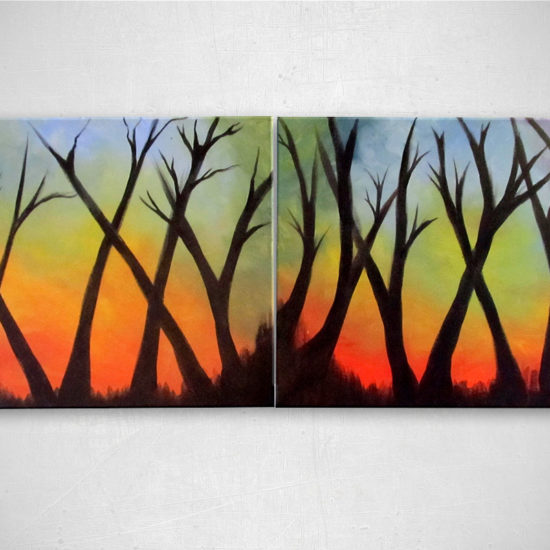 """Treehuggers Unite: Acrylic painting on canvas - diptych 16""""x20"""""""